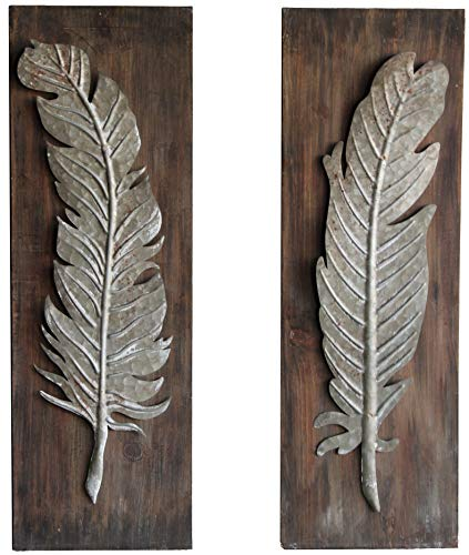 Urban Legacy Industrial Feather Wall Art, Set of 2 (Metal Feather Mounted on Weathered Wood)