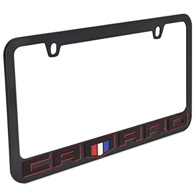 Eurosport Daytona- Compatible with 2020, Chevrolet Camaro Black Word with Shield- Black License Plate Frame: Automotive