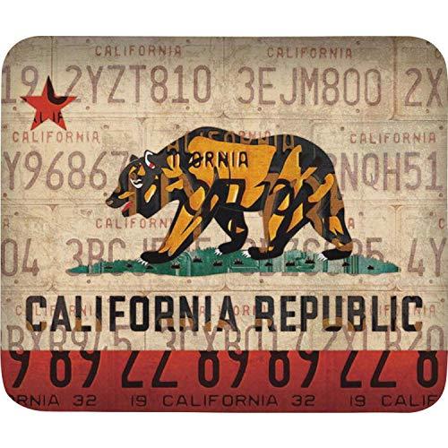 Mouse Pad Anti-Slip PC Mouse Mat California State Flag Vintage License plat Chic Mousepad