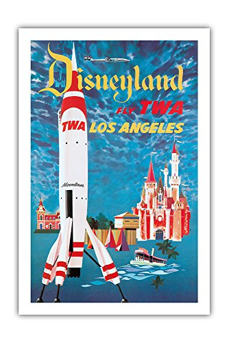 Fly TWA Los Angeles – Trans World Airlines – Disneyland s Tomorrowland TWA Moonliner California – Vintage Airline Travel Poster by David Klein c.1955 – Premium 290gsm Gicl e Art Print – 24in x 36in