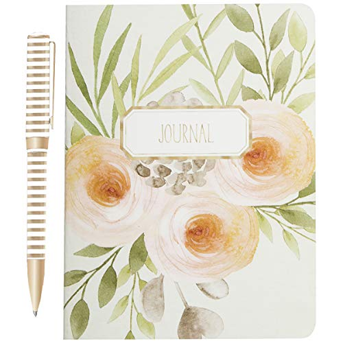 LAURA ASHLEY Journal and Pen Stationery Gift Set with 104 Lined Sheets, Watercolor Floral Art Design Notebook Cover with Gold and White Ballpoint Pen