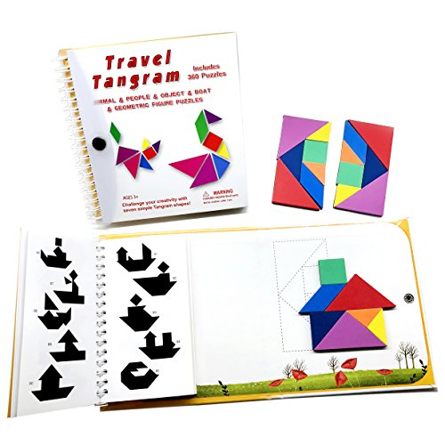 Tangram Travel Games 360 Magnetic Puzzles and Questions Build Animals People Objects with 7 Simple Magnetic Colorful Shapes Kid Adult Challenge IQ Educational Book【2 Set of Tangrams】 by Wallxin