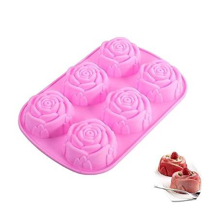 Hosaire Molde de silicona de 6 cavidades en forma de rosa para ...