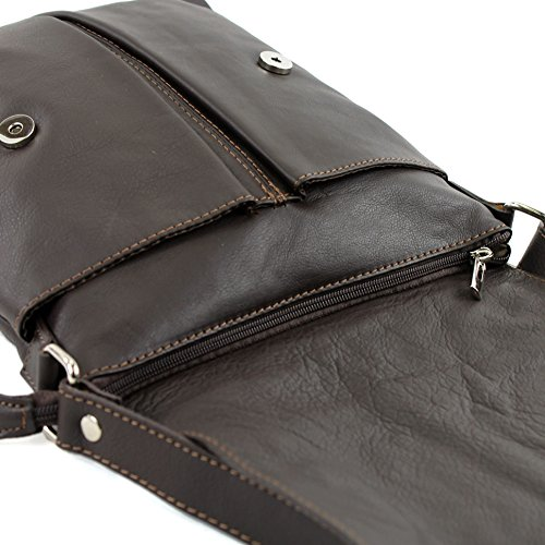Dark de Shoulder Chocolate T75 modamoda ladies bag bag large ital leather Messenger v1dwwx6nq