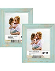Langdons 8x10 Real Wood Picture Frames (2 Pack, Eggshell Blue - Gold Accents), Wooden Photo Frame 8 x 10, Wall Mount or Table Top, Set of 2 Lumina Collection