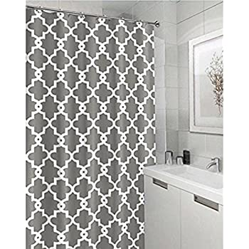 extra long grey shower curtain. Geometric Patterned Waterproof 100  Polyester Fabric Shower Curtain for Bathroom 72 x 84 Amazon com InterDesign Leaves Long Green Inch
