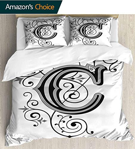 shirlyhome Letter C Bedding Sets Duvet Cover Set,Victorian Inspired Gothic Style Capital C Vintage Feminine Floral Branches Bedspreads Beach Theme Quilt Cover Children Comforter Cover 79