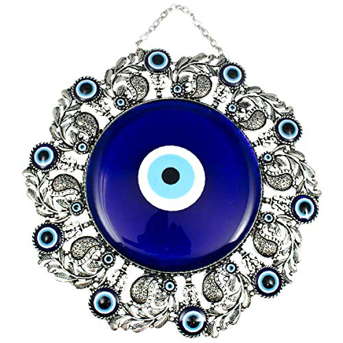 Bead Global Erbulus Turkish Glass Blue Evil Eye Wall Hanging Ornament - Leaf Design Metal Home Decor - Turkish Amulet - Protection and Good Luck Charm Gift ()