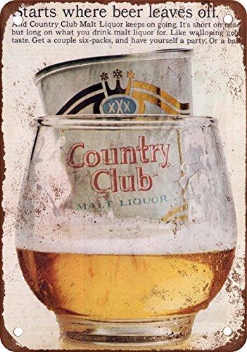 1966 Country Club Malt Liquor Vintage Look Reproduction Metal Tin Sign 7X10 Inches (Lake Arrowhead Tin Sign)