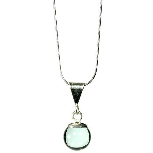 32c509b1e326a Joyería para mujer - Dije de vidrio brillante whisky transparente con cadena  de plata