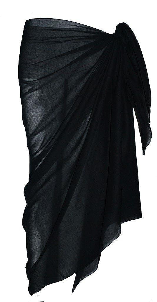 Schwarz passion4fashion Sarong aus Baumwolle uni