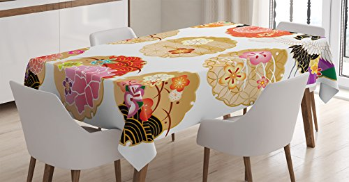 Asian Dining Tables (Ambesonne Japanese Decor Tablecloth, Floral Round Golden Frame Patterns with Antique Asian Nature Figures Organic Natural Graphic, Rectangular Table Cover for Dining Room Kitchen, 52x70 Inches, Multi)