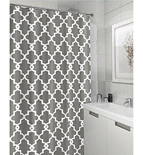 Geometric Patterned Waterproof 100 Polyester Fabric Shower Curtain For Bathroom 72 X 84 Extra