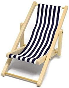 Melody Jane Dolls Houses House Miniature Garden Beach Furniture Navy Blue Stripe Folding Deck Chair