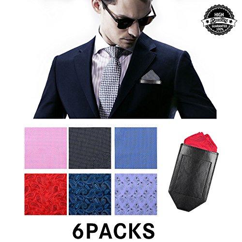 Pocket Squares For Men,Silk Men's Suit Handkerchiefs with Pocket Square Holder Set For Wedding Party Men Gift by pocket square (Image #8)