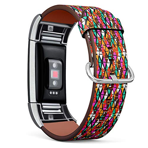 [ Compatible Fitbit Charge 2 ] Replacement Leather Band Bracelet Strap Wristband Accessory // Bold Harlequin