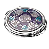 Compact Mirror in a Mackintosh Ring of Roses Design. (Purple)