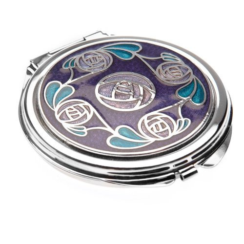 Compact Mirror in a Mackintosh Ring of Roses Design. (Purple) (Mirror Round Charles)