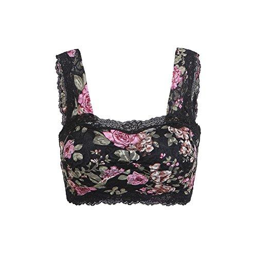 Floral Mini Bra (Lasricas Women's Comfy Lace Leisure Bra Wirefree Half Camisole Bralette Floral, Black, M )