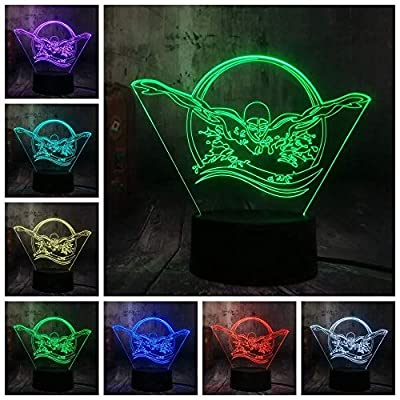 dferh 7 Color 3D Night Light Multicolor Swimming Sport Swimmer 7 Color Change 3D Visual LED Night Light Kids Touch USB Table Lamp Baby Sleep Decor Gifts: Home & Kitchen