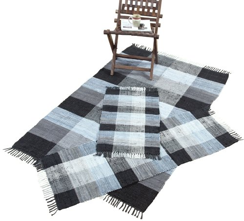 Rug Silk Chesapeake (Chesapeake Merchandising Check Chindi 3-Piece Accent Rug Set, Black/Multi)