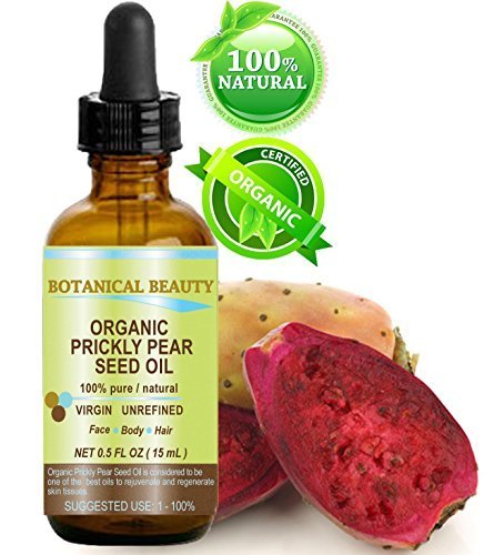 (PRICKLY PEAR CACTUS SEED OIL ORGANIC. 100% Pure / Natural / Undiluted / Virgin / Unrefined Cold Pressed Carrier oil. 0.5 Fl.oz.- 15 ml. For Skin, Hair, Lip and Nail Care.)