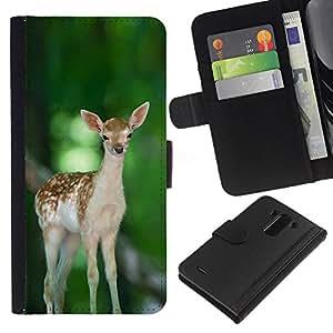 YiPhone /// Tirón de la caja Cartera de cuero con ranuras para tarjetas - Feliz lindo del cervatillo de los ciervos - LG G3