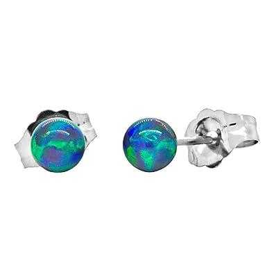 5e434036d Trustmark 14K White Gold 4mm Blue-Green Peacock Synthetic Opal Ball Stud  Post Earrings