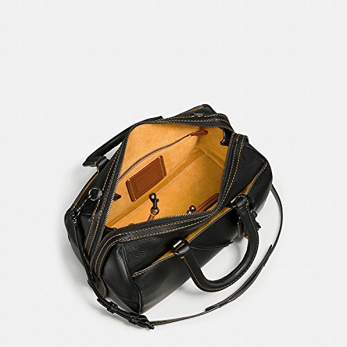Leather COACH Nickel 58118 Glovetanned with Rogue Antique Satchel Embellished Handle Pebbled in Black rqrESCw