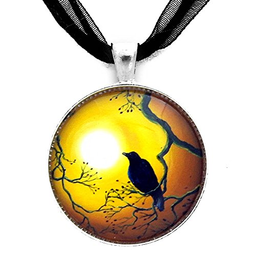 (Laura Milnor Iverson Crow in Topaz-Colored Sunset Black Raven Pendant Bird Necklace Handmade Jewelry)