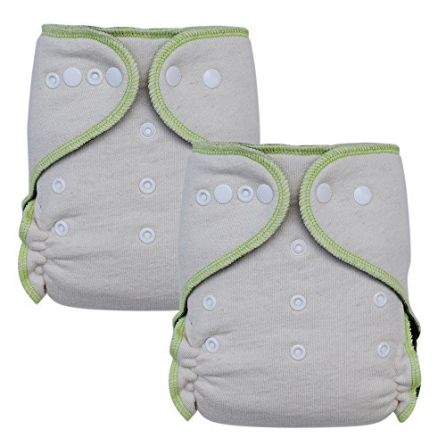 Night Fitted Cloth Diaper Hemp / Cotton & Stay-Dry Charcoal Bamboo (Pack of 2)