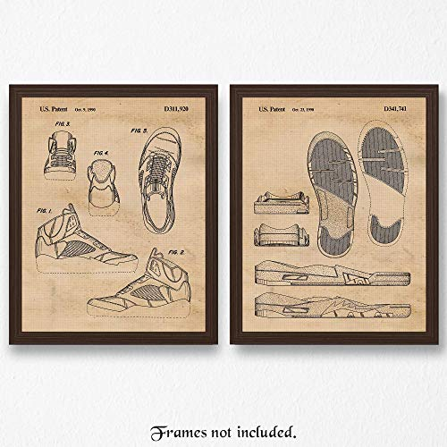 (Original Nike Air Jordan 5 Patent Poster Prints- Set of 2 (Two 11x14) Unframed Pictures- Great Wall Art Decor Gifts Under $20 for Home, Office, Studio, Garage, Man Cave, Gym, Chicago-Basketball Fan)