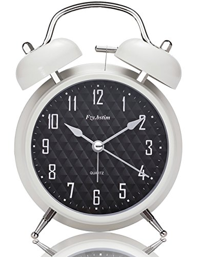 Fzy.bstim 4 Twin Bell Alarm Clock Battery Operated,with Backlight,Non-ticking Silent Alarm Clocks for Bedrooms,Loud Alarm Clock for Heavy sleepers(White)