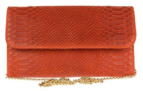 Piel Serpiente Handbags Mano Estampado Con Naranja Oscuro Bolso De Italiana Girly wIP8qx