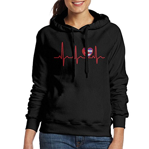 DE4K Cuba Country Flag Heartbeat 2017 New Funny Printed Women's Pullover - Black Friday Costa Sale