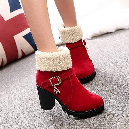 Rojo Botas Las Gamuza Para De Corta Cortas La Flocada Terciopelo Algodón Más 3 Zapatillas Zapatos Gastadas Invierno Bazhahei Mujer Nieve Señoras By zdwRxRZ