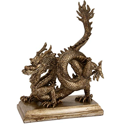 (MISC Breathing Chinese Dragon Statue Orient Figurine Asian Oriental Sculpture Wisdom Mythical China Art, Metallic Resin 11 Inch H )