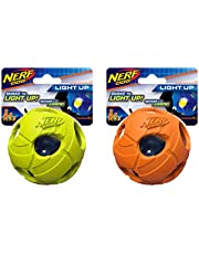 Assortment: 3.5in LED Bash Ball 2-Pack, Green and Orange, Dog Toy by Nerf Dog