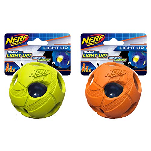 Nerf Dog Assortment: 3.5in LED Bash Ball 2-Pack, Green and Orange, Dog Toy