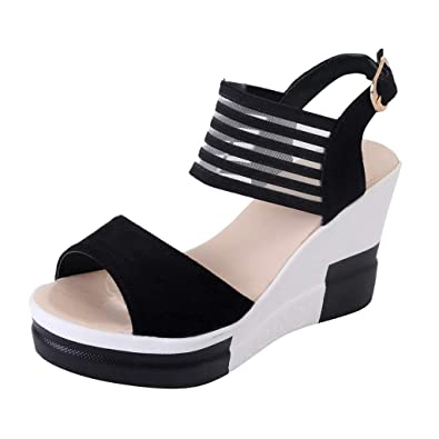 3ead66b4c2f6f7 Siswong High Fashion Women Casual Wedge Shoes Belt Buckle High Heel Shoes  Buckle Strap Ankle Strap