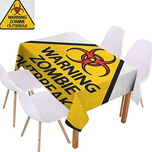 Washable Table Cloth Zombie Warning The Zombie Outbreak Sign Cemetery Infection Halloween Graphic Washable Tablecloth W52 xL72 Earth Yellow Red Black -