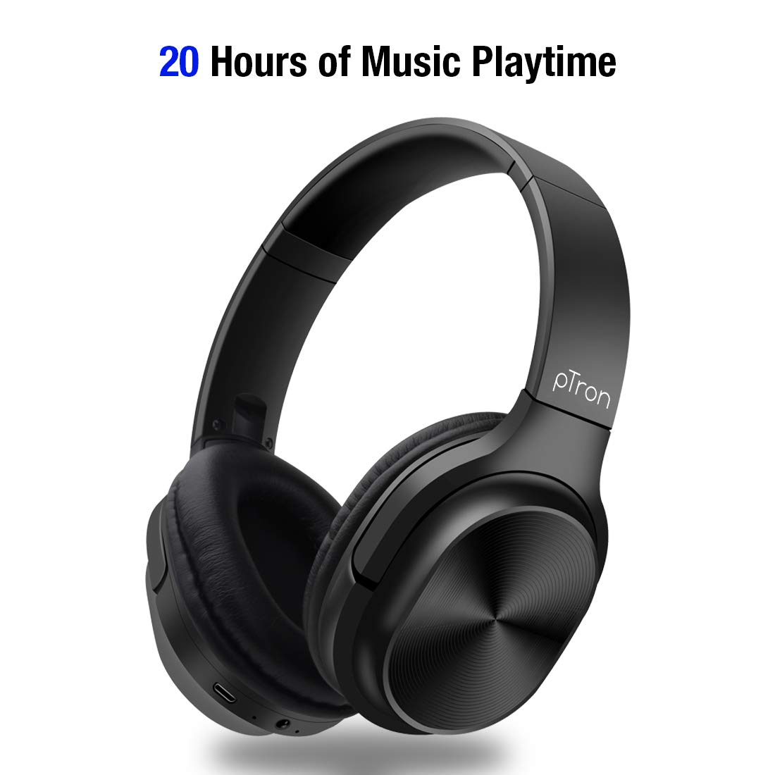 pTron Studio Pro Soundster Over The Ear Wireless Bluetooth Headphones with Mic - (Black)