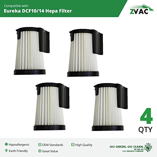 4 Eureka DCF-10 & DCF-14 HEPA Filter Generic Part By ZVac. Replaces Part Numbers DCF14, DCF10, 62731A, 62731b Fits: 430 Series Lightweight Uprights Including Stick Vacuum 431A, 426A, 431AX.