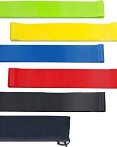 Nalife Resistance Loop Exercise Bands, Home Fitness Exercise Workout Bands with Carrying Bag, 12-inch Latex Bands & Pilates Flexbands for Stretching, Strength Training, Physical Therapy(Set of 5)