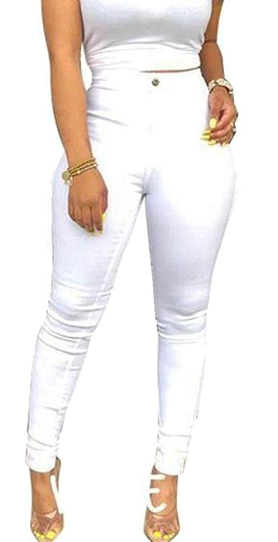 MOUTEN Womens Solid Color Slim High Waist Skinny Casual Denim Jeans Pants