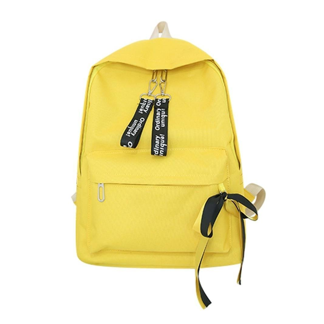 Sameno Canvas Letter Backpack Outdoor Travel Backpack college Student Bag (Yellow)