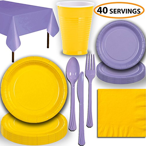 - Disposable Party Supplies, Serves 40 - Yellow and Lavender - Large and Small Paper Plates, 12 oz Plastic Cups, Heavyweight Cutlery, Napkins, and Tablecloths. Full Two-Tone Tableware Set