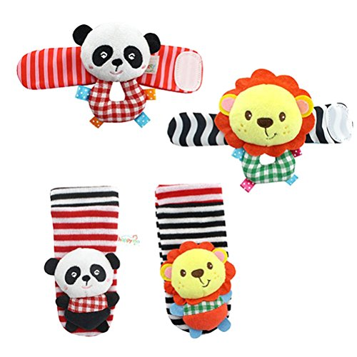 TOYMYTOY 4PCS Baby Infant Soft Animal Wrists Rattle Toys Hands Foots Finders Plush Bell (Lion and Panda) (Baby Hand Feet)