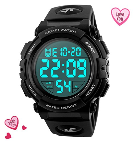 Mens Black Digital Sport Watch - Black Digita Watch for Men for Teen for Boys Sport Outdoor Silicone Watch with 5 ATM Waterproof, Chronograph, ()