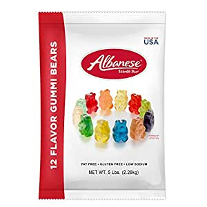 Albanese Candy, 12 Flavor Gummi Bears, 5 Pound Bag